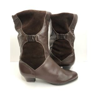 Vintage 80s Leather Suede Slouch Bootie Brown 10.5